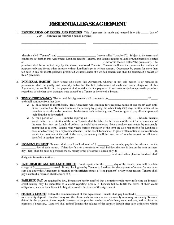 Printable Residential Free House Lease Agreement  Residential