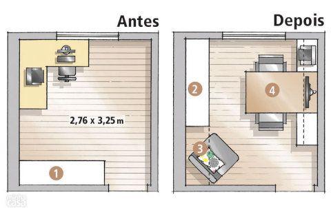 Para aproveitar melhor a área, o mobiliário passou a ocupar as paredes maiores. O armário (1) foi transferido para a alvenaria vizinha (2), criando um nicho que serve de canto de leitura (3). Do outro lado, a mesa (4) – que tem as laterais livres – demarca os espaços dele e dela.