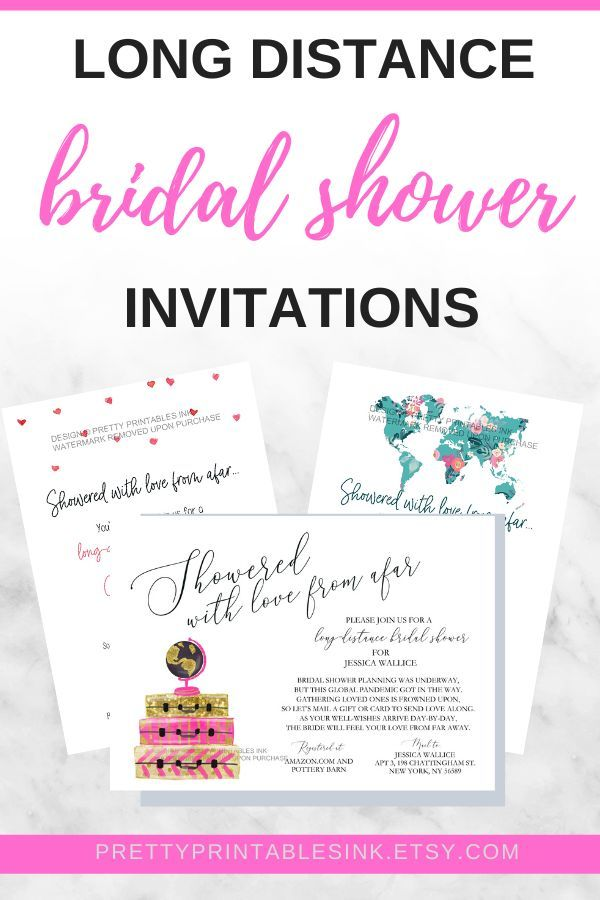 Long Distance Bridal Shower Invitations Pretty Printable In 2020 Bridal Shower Bachelorette Party Ideas Bridal Shower Invitations Printable Bridal Shower Invitations