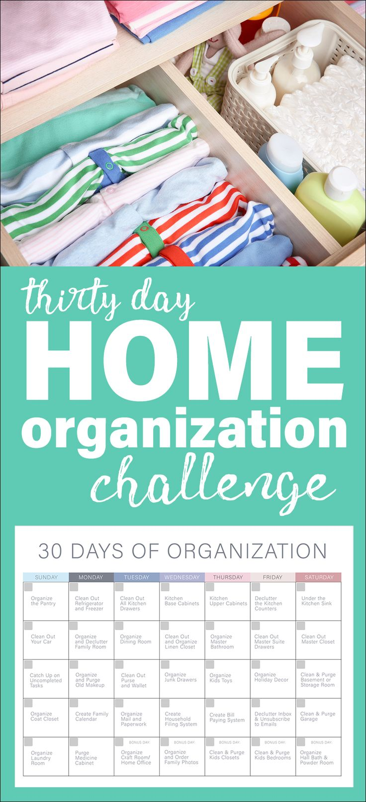 30 Days of Organization Challenge. Get your home and personal life organized this year with some tips and tricks, and a free organization calendar printable!