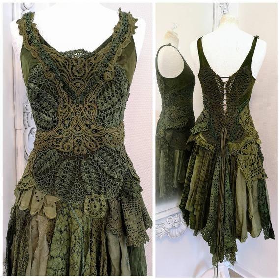 Bohemian Green Wedding Dress
