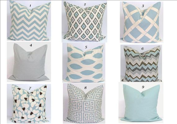 Light blue and gray throw pillows 20x20 inch. ETSY - ElemenOPillows, $17.00. Maybe set of solid gray or blue/aqua and set of chevron blue/aqua for my gray sofa.