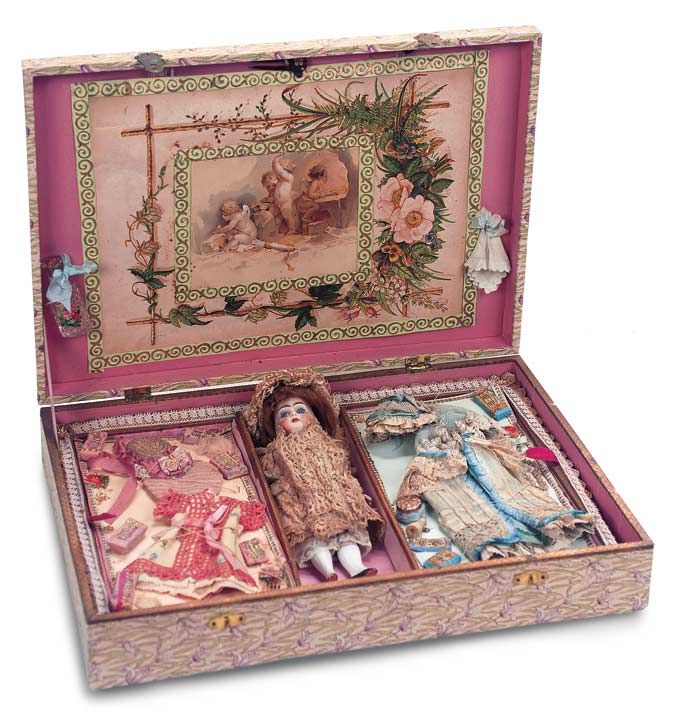 German All-Bisque Miniature Doll in Presentation Box with Trousseau circa 1890