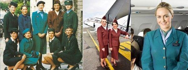 Une photo qui rappelle toutes les couleurs et les formes des costumes des hôtesses d'Aer Lingus, des plus anciens aux plus récents. Photo gauche © Archives Aer Lingus; Photos 2 et 3/ © David Raynal