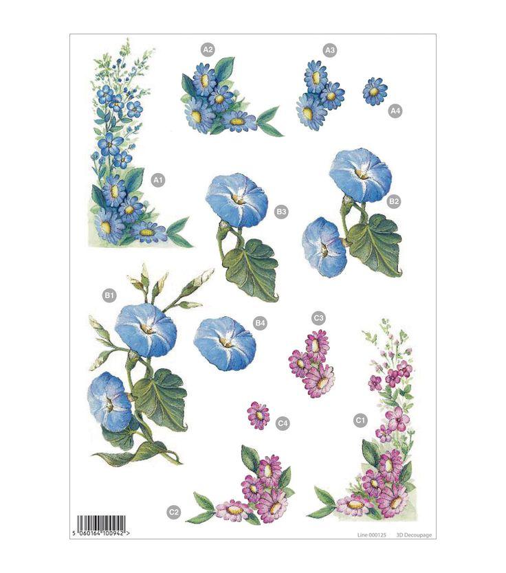 Craft UK 3-D Die-Cut Decoupage Sheet Floral Line 000125