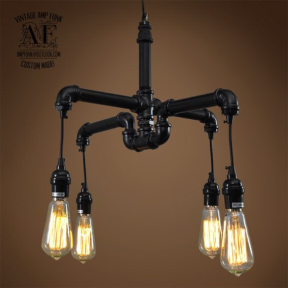 Industrial Iron pipe light Edison chandelier by VintageAmpFunk