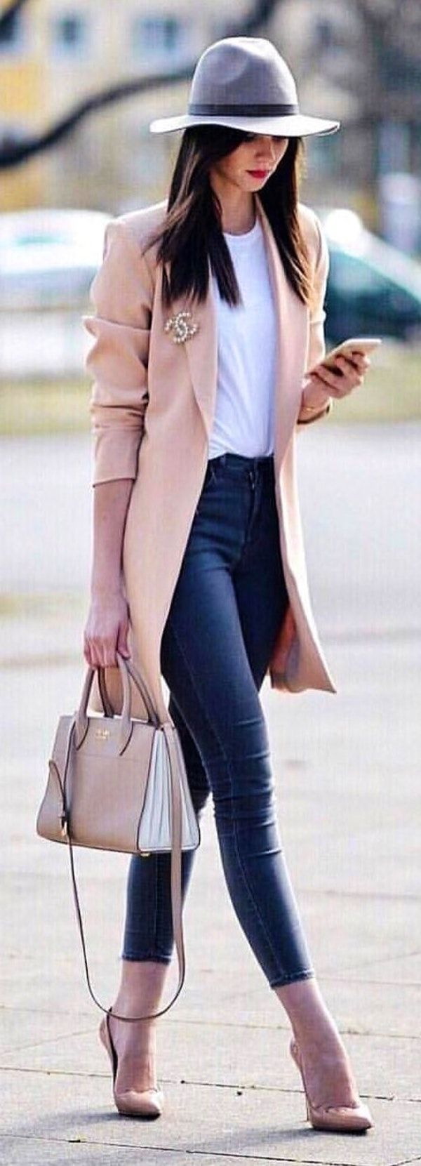 #spring #outfits  woman wearing brown coat and blue jeans. Pic by @fashionstyles2me