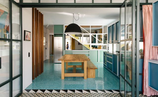 Nadja Apartment in Athens, Greece by Point Supreme Architects. Minimal modern forms and bold pastel colors, graphic patterns, variety of materials.