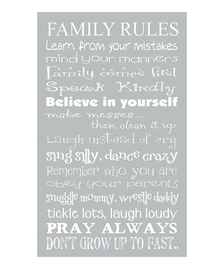 'Family Rules' Canvas Wall Art