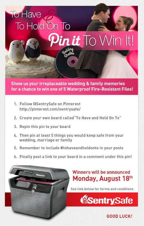 Pin it to Win it!  Share you wedding photos and family memories for a chance to win one of five Waterproof Fire-Resistant Files!: Inspiration Life,  Internet Site, Crafts Ideas,  Website, Web Site, Waterproof Fire Resistance, Families Memories, Wedding Photos, Fire Resistance File