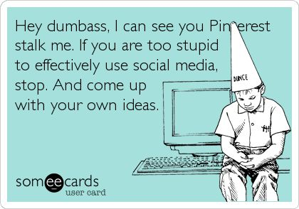 Hey dumbass, I can see you Pinterest stalk me. If you are too stupid to effectively use social media, stop. And come up with your own ideas.