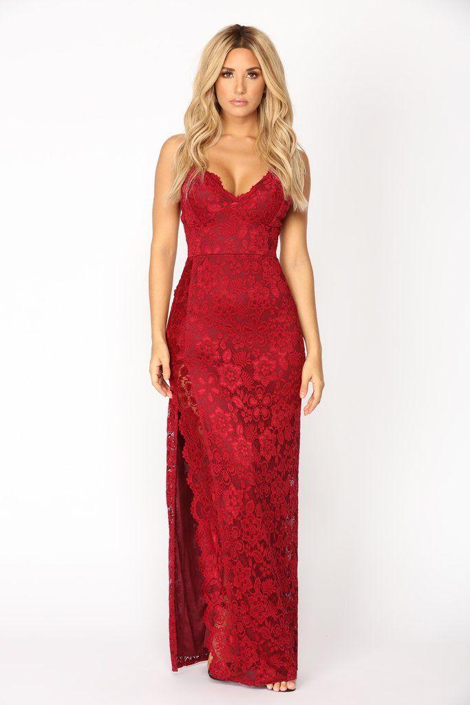 f3063fa515da Jacelynn Lace Dress - Burgundy in 2019 | Fashion Nova | Dresses ...