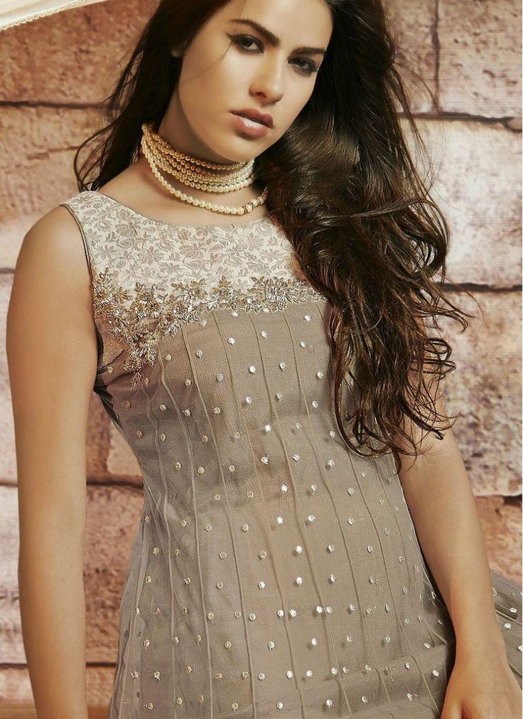 Net Beige and Off White Floor Length Anarkali Suit