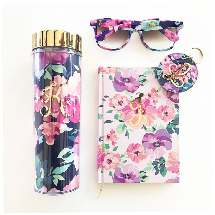 Monogram Gifts | Floral Monogram Bridesmaid Gifts for Her | Birthday Gifts for Women | Floral Print