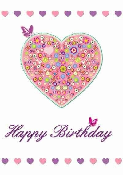 Happy Birthday pink heart flowers