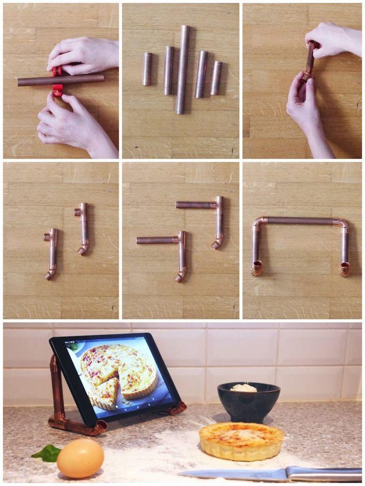 tuto diy bricolage cuivre deco cuisine fabriquer soi meme un porte tablette en tube de cuivre idee deco bricolage pour la cuisine