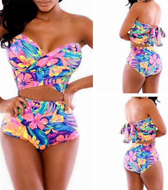 Cheap Sexy Floral Print Multi-Colored Two-Piece Bikini Swimwear FG51814JH