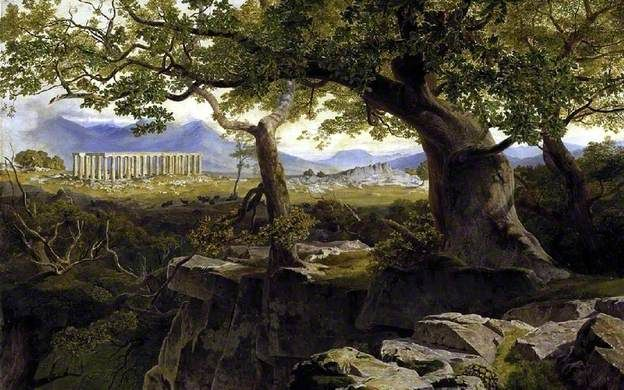 Lear, Edward, (1812-1888), The Temple of Apollo at Bassae, 1855, Oil