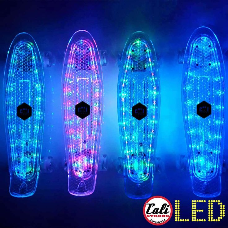 "CALI Strong LED Light Clear Penny Board Style 22"" Mini Cruiser & LED Light Wheels"