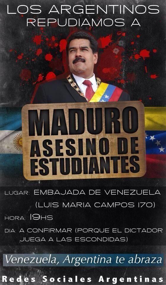 Miren tan bellos los carteles de bienvenida q le tienen preparados a Maduro en Argentina #MaduroGenocidaDeVzla #11M pic.twitter.com/ZzzwfAbz23: