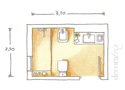 151 mejores ideas sobre ba os en pinterest vanidades - Plano bano pequeno ...
