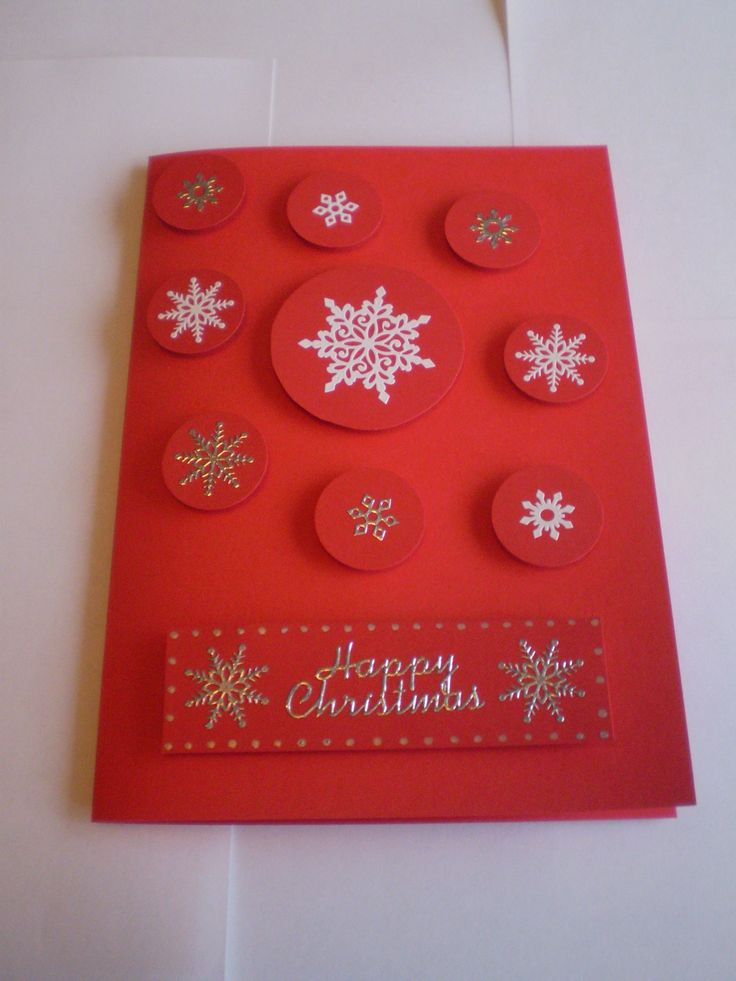 Card Making Ideas Christmas Part - 48: DIY Christmas Card Designs - Red With White And Silver Snowflakes - Happy  Christmas Upcycle Craft