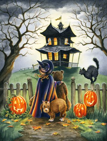 Maybe Not! haunted house too scary for these children and black cat on fence Halloween iPhone wallpaper background holiday Halloween art - lock screen