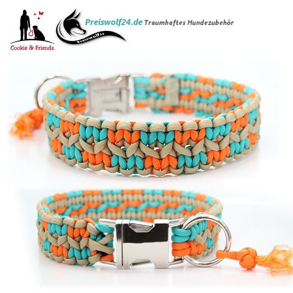 "Paracord Hundehalsband ""ZICK ZACK"" 3,5 cm breit tolle Farben"