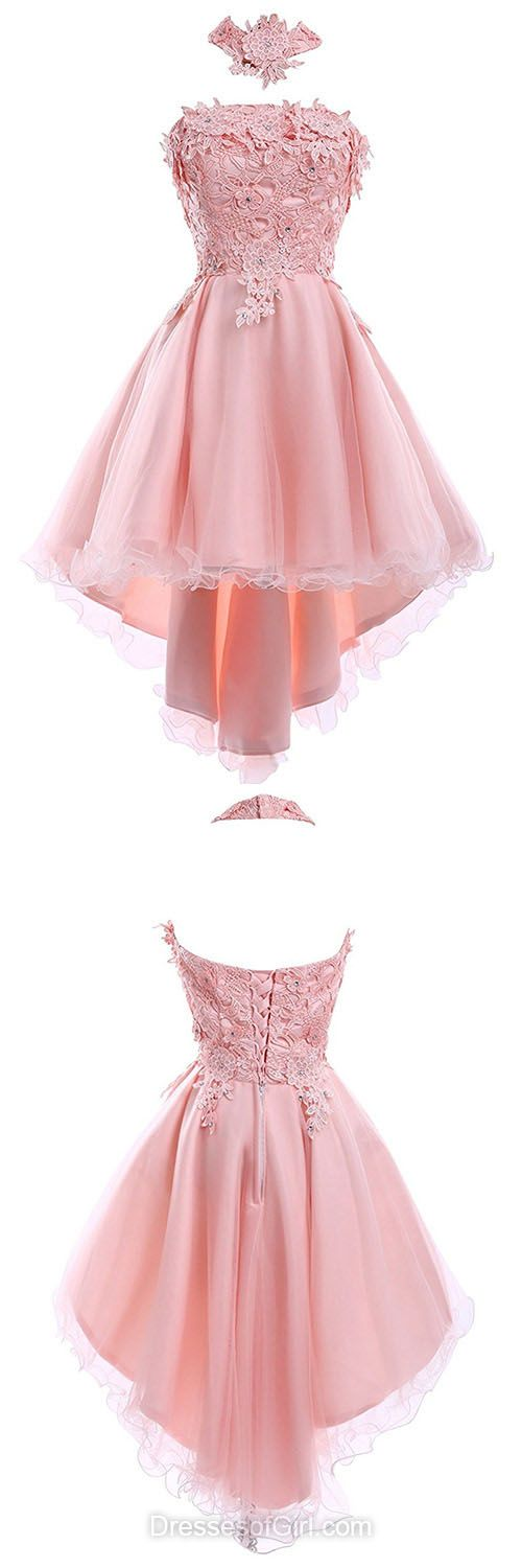Halter Homecoming Dresses, Asymmetrical Party Dresses, Lace Prom Dresses, Pink Formal Dresses, Cute Girls Cocktail Dresses