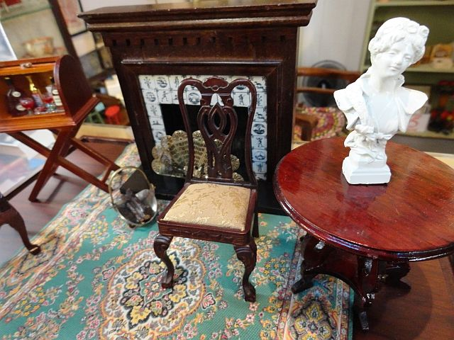 Upholstered side chair by Bespaq and a painted pewter bust. Available at the Vancouver Flea Market (www.facebook.com/Gleaner84)