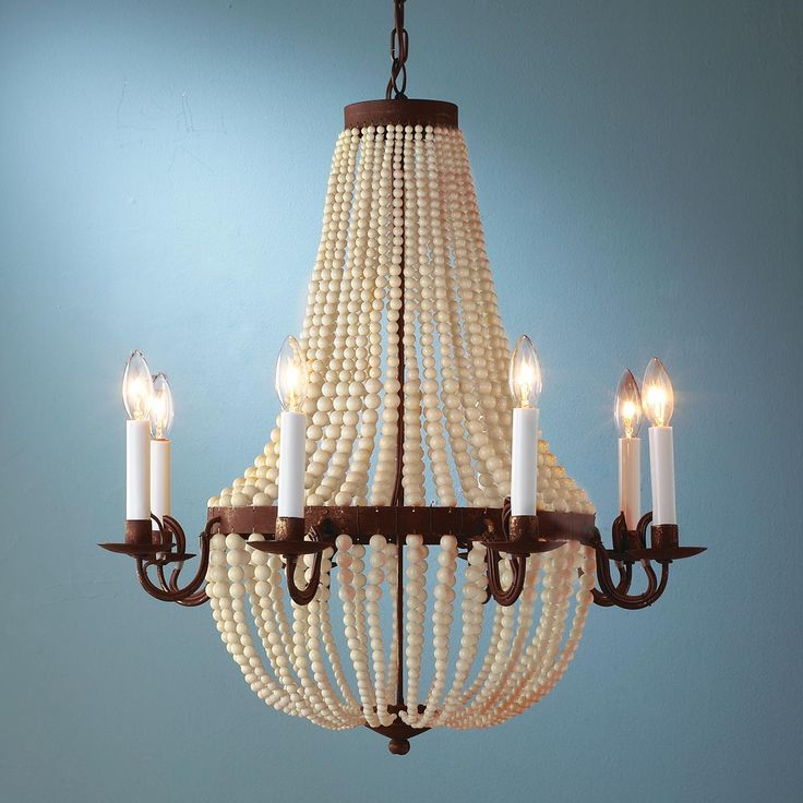 Cream Rusted Bead Chandelier