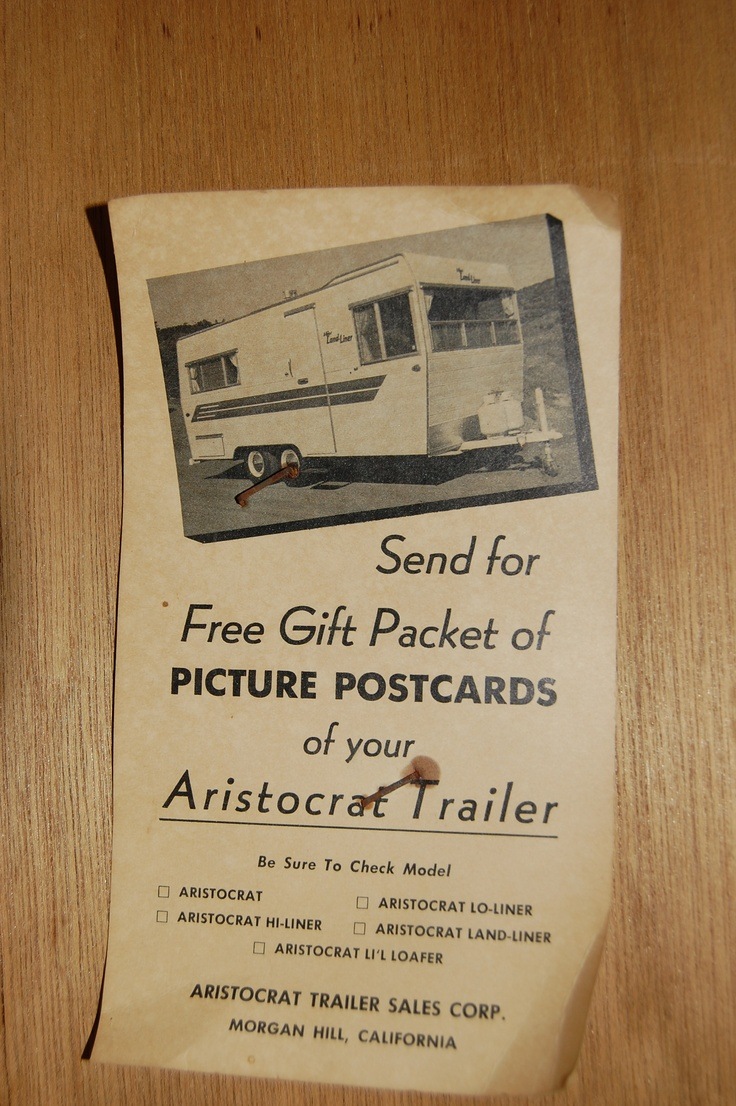 Literature stapled inside a 1963 land commander closet photo of a land liner