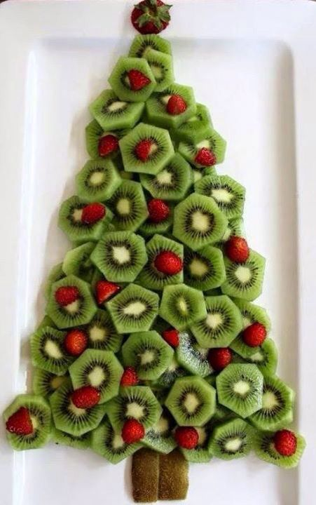 Kiwi fruit and strawberries Christmas tree platter!