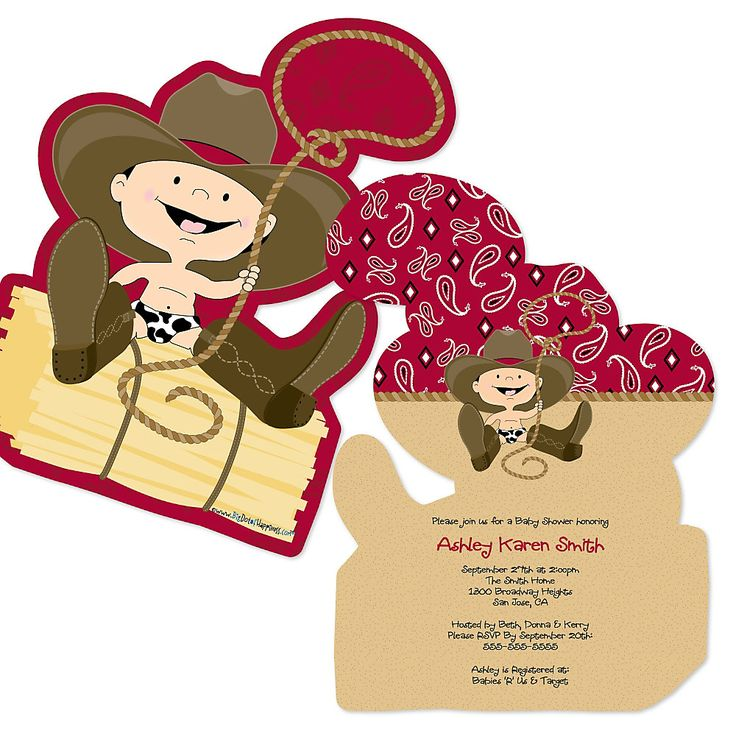 Each Shaped Baby Shower Invitation Perfectly Coordinates With The Little Cowboy  Baby Shower Theme And Will Be Customized ...