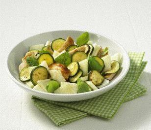 Zucchini-Melonen-Salat mit Putenstreifen Rezept: Person,Zucchini,Honigmelone,Putenbrust,Öl,Salz,Pfeffer,Obstessig,Honig,Basilikum