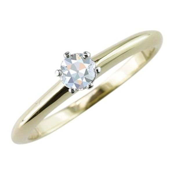 Pre-owned Tiffany & Co 18K Yellow Gold Diamond Solitaire Antique... ($1,034) ❤ liked on Polyvore featuring jewelry, rings, yellow gold engagement rings, antique diamond rings, 18k gold ring, pre owned engagement rings and gold rings
