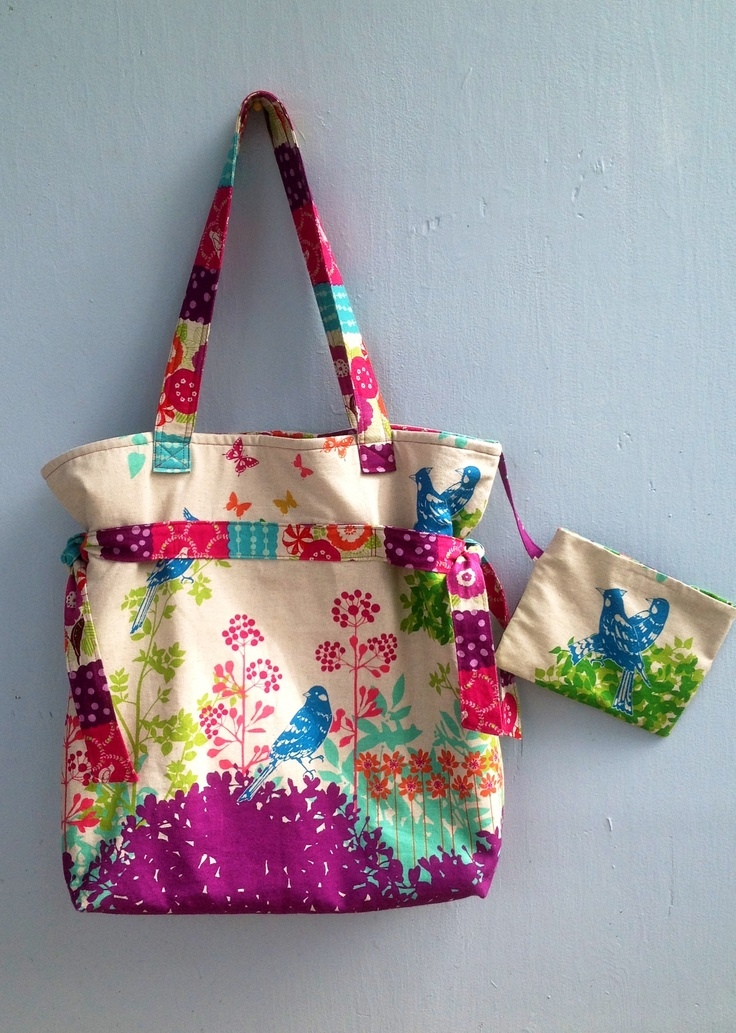 Go Green tote with Echino fabric