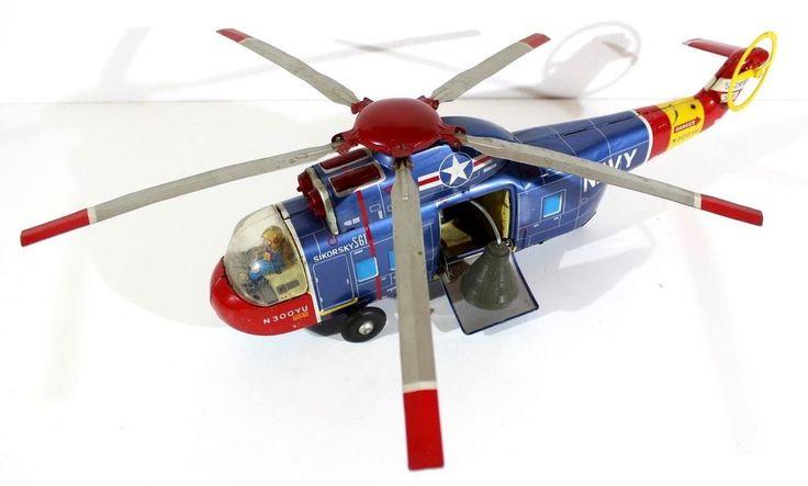 "YONEZAWA SIKORSKY S-61 HELICOPTER ""NAVY"" BATTERY OP. VTG TIN JAPAN!"