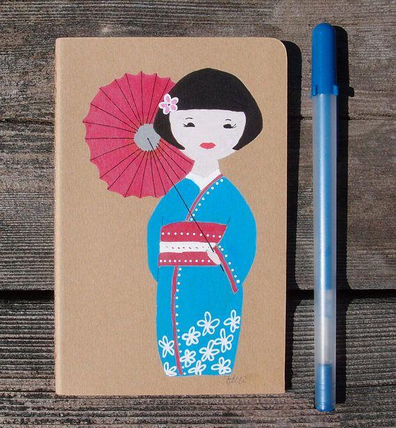 Hand Painted Travel Notebook  Pocket Dream by KelliMcNicholsArt