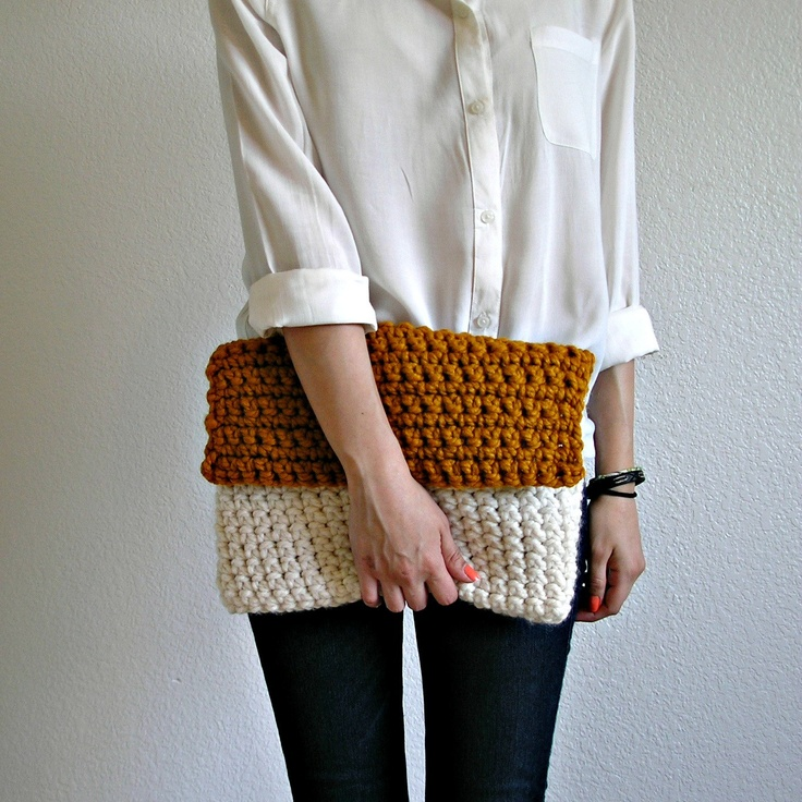 The Colmar Clutch - Fisherman & Butterscotch, knit crochet color blocking clutch, fold over clutch, size MEDIUM. $30.00, via Etsy.