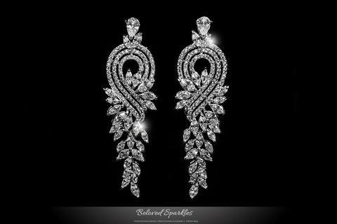 Long Dangle Vintage Art Deco Chandelier Cubic Zirconia Earrings | 11 Carat – Beloved Sparkles