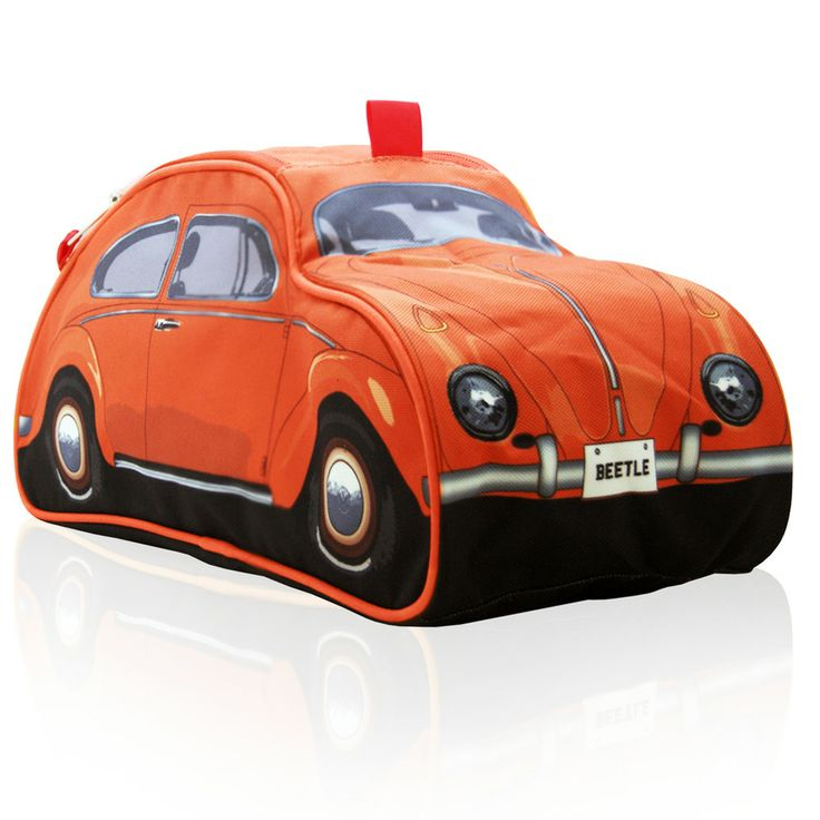 Orange toiletry bag, officially licensed by Volkswagen,  styled as retro mini version of the iconic '60s classic VW Beetle. Holds all essentials for the morning toilet in a spacious design reminiscent to the unique Beetle shape. Fully lined with elasticised and zippered inner compartments. Folds down flat for easy storage.