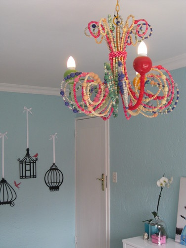 beaded chandlier, done over an old brass chandelier