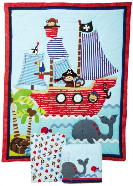 Treasure Island themed nursery decor. Adorable monkey pirate and a friendly whale make this set even cuter.