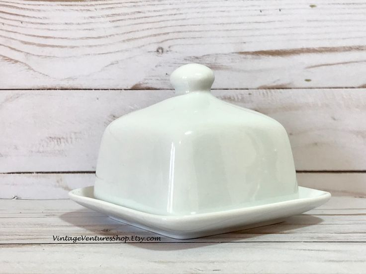 Classic white tableware! Butter dish for your traditional dining or farmhouse table at #VintageVenturesShop #Etsy to buy click image #Vintage #EtsyShop #VintageButterDish #FarmhouseTable #FixerUpper #CottageChic #Shabby #ButterDish #ButterKeep #Breakfast #TeaParty