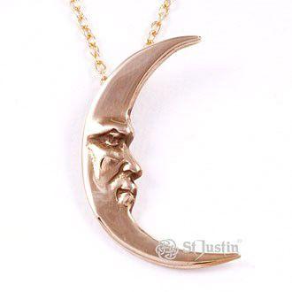 Crescent Moon Bronze Pendant