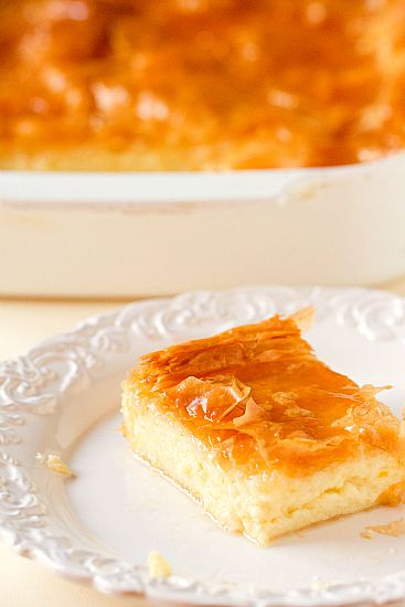 GREEK CUSTARD PIE  Custard:  6 cups whole milk  1 cup fine semolina  ¾ cup sugar, divided  1 T unsalted butter  1 t vanilla extract  3 eggs  Zest of 1 orange  Assembly:  1 pkg phyllo dough, about 12-16 sheets  1 cup unsalted butter  Citrus Syrup:  1½ cups granulated sugar  1 cup water  ¼ cup orange juice  ½ t vanilla extract