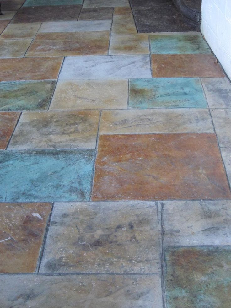 Colored Stamped Concrete Patio With Fire Pit Home Design