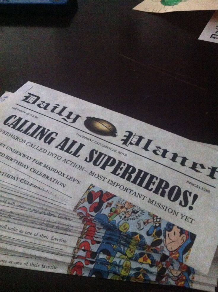 Superhero party invite; Newspaper - create in Publisher and print on resume paper