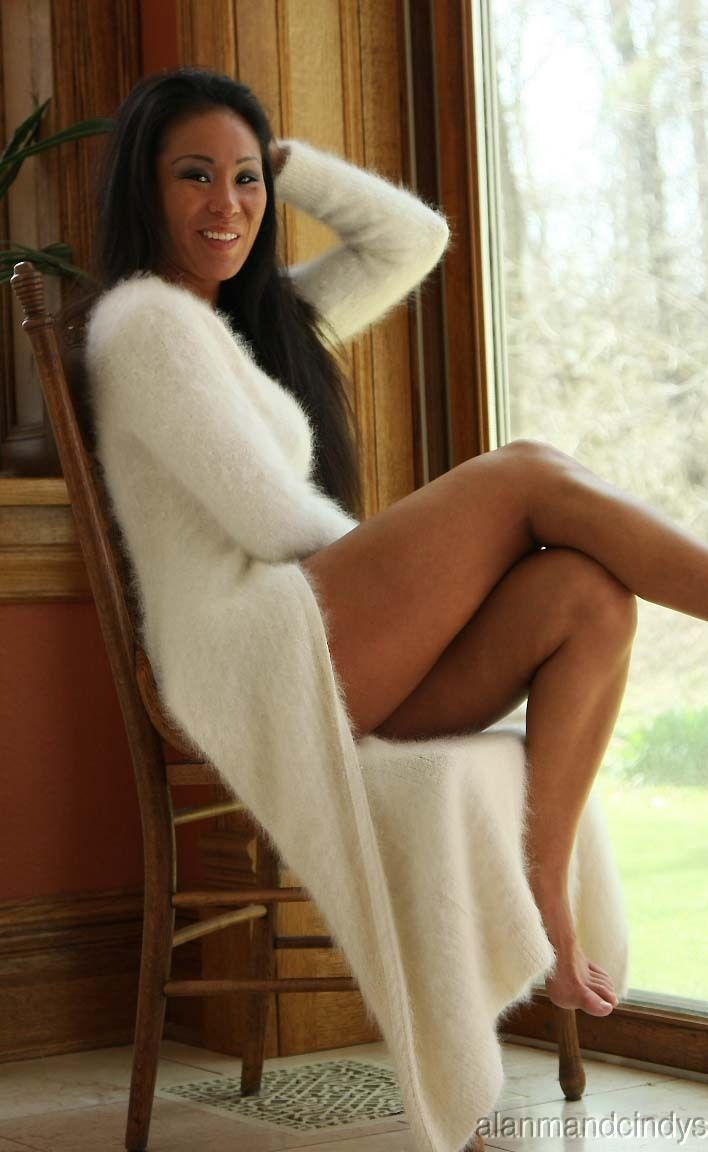 Angora cardigan fetish